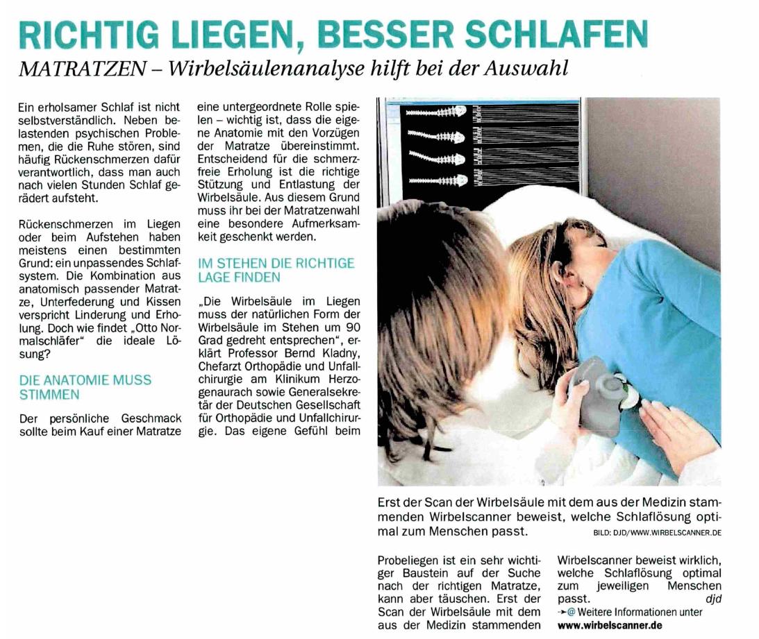 Anzeige Wirbelscanner - Richtig liegen, besser schlafen 4