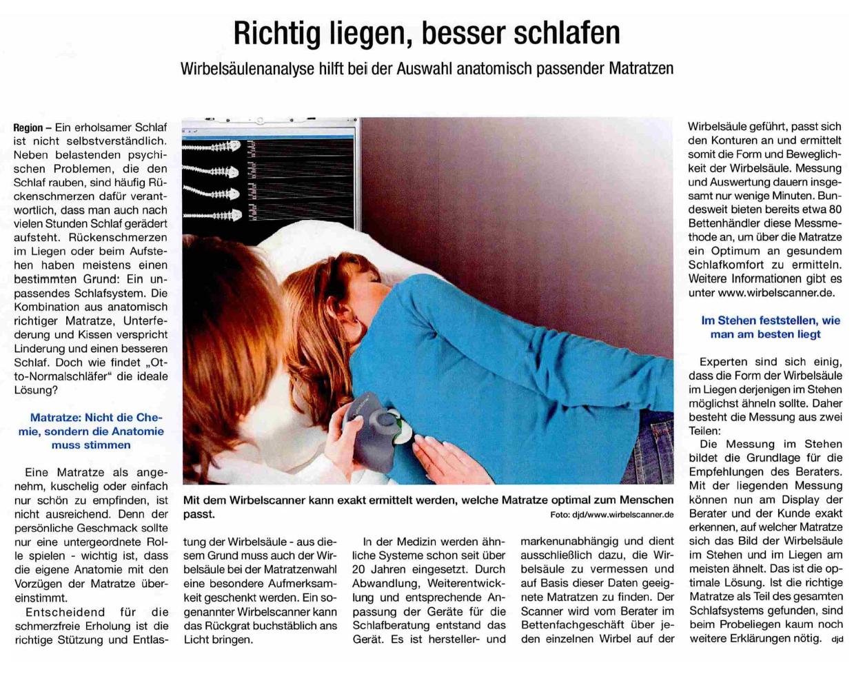 Anzeige Wirbelscanner - Richtig liegen, besser schlafen quer
