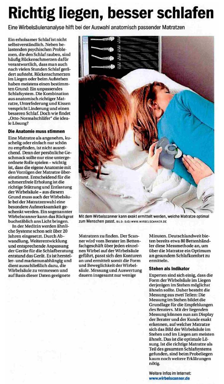 Anzeige Wirbelscanner - Richtig liegen, besser schlafen